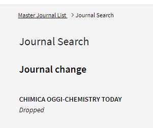 Chimica Oggi Chemistry Today正式被科睿唯安的SCI数据库剔除-sci666
