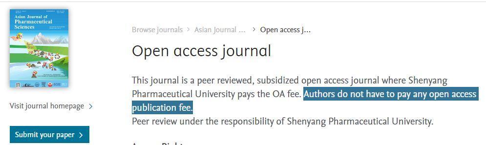 Asian J Pharm Sci 不要版面费的OA期刊