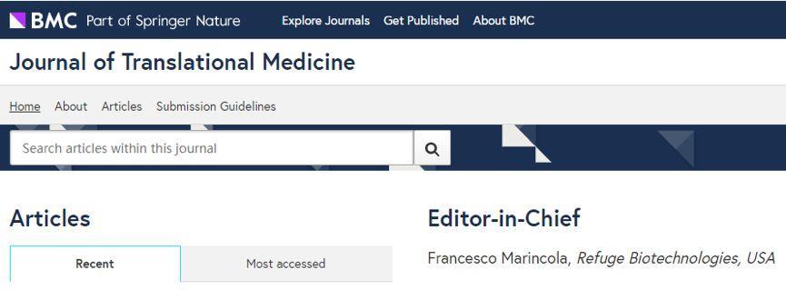 Journal of Translational Medicine审稿快、接收率高