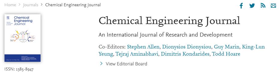 Chemical Engineering Journal影响因子即将突破10分