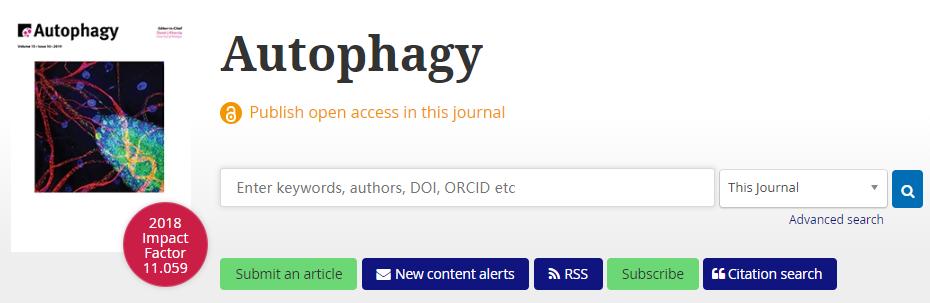 Autophagy自噬Top期刊,近几年影响因子大于10分