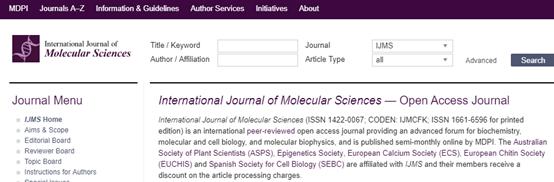 International Journal of Molecular Sciences (IJMS)影响因子4分