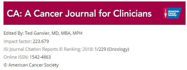 CA: A Cancer Journal for Clinicians影响因子连续两年超200分,明年或将冲出300分!