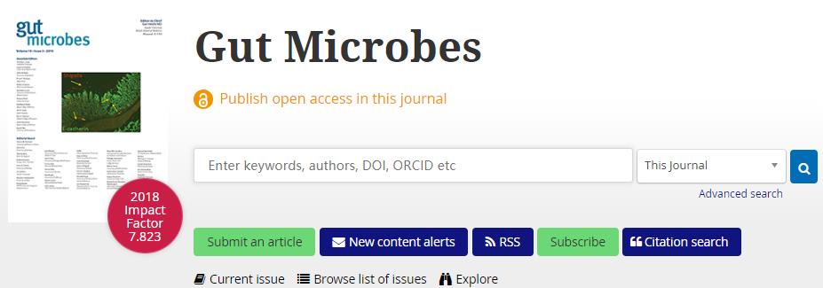 Gut Microbes即时影响因子4.917分,2020年将到8分-sci666