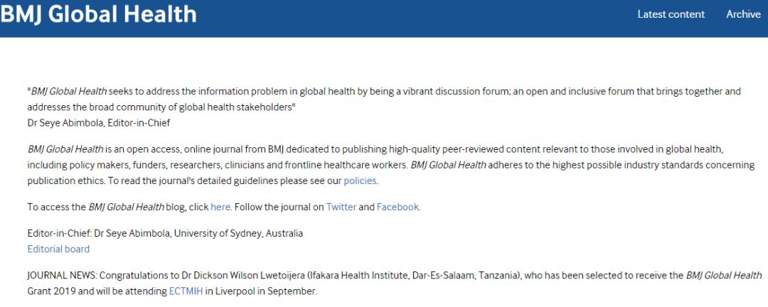 BMJ旗下BMJ Global Health入选SCI的期刊,影响因子3分-sci666