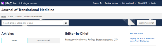 Journal of Translational Medicine影响因子4分 审稿快、接受范围广的期刊