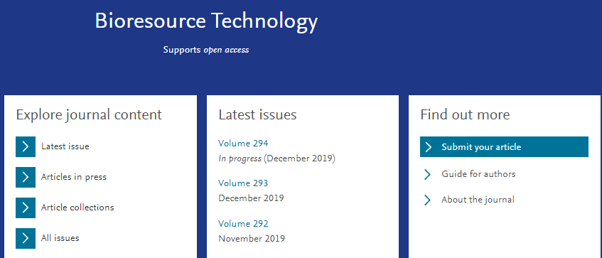 Bioresource Technology年发文1600篇 2020年影响因子预测9分-sci666