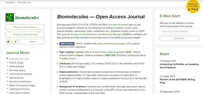 Biomolecules影响因子4分的1区杂志,审稿超快-sci666