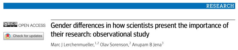 男性比女性更善于推动科学研究?