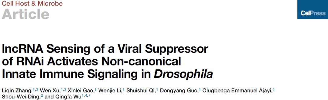 吴清发组发现长非编码RNA介导的天然免疫新机制-sci666
