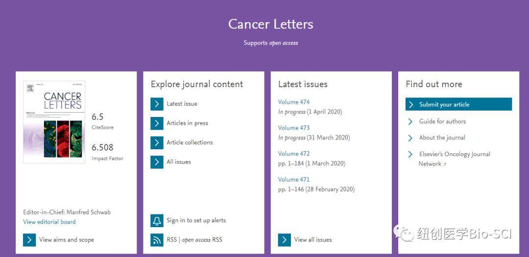 Cancer Letters影响因子6.5 中国发稿量大-sci666