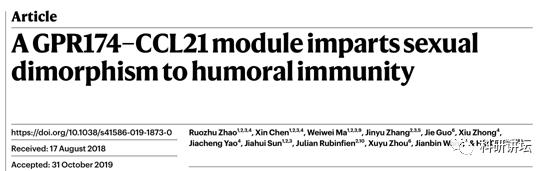 清华大学祁海教授团队研究发现不同性别间体液免疫差异的新机制