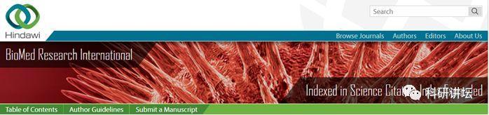 BioMed Research International影响因子2分 各学科文章都收