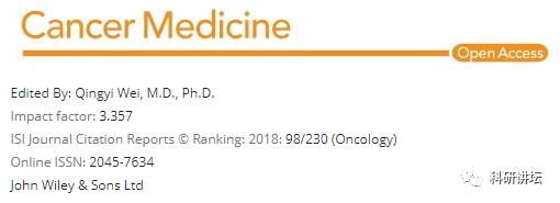Cancer Medicine影响因子3分的国人友好期刊