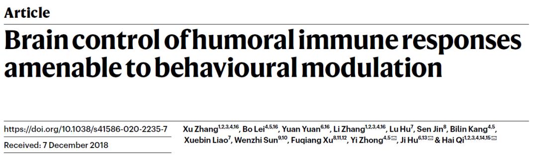 祁海/胡霁/钟毅合作报道脑-脾神经环路控制抗体免疫应答新机制