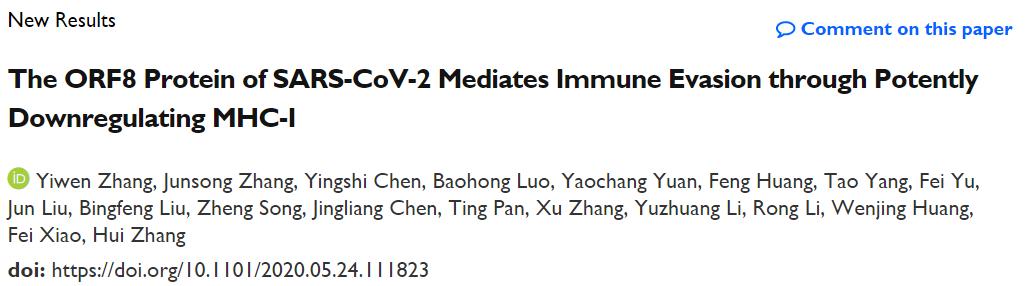SARS-CoV-2的ORF8通过抑制MHC-I促进免疫逃逸