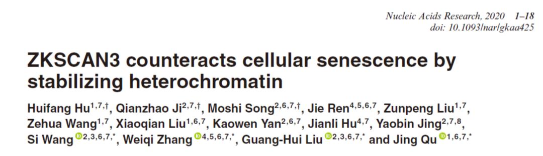 曲静/刘光慧/张维绮合作组揭示人干细胞衰老的表观遗传机制