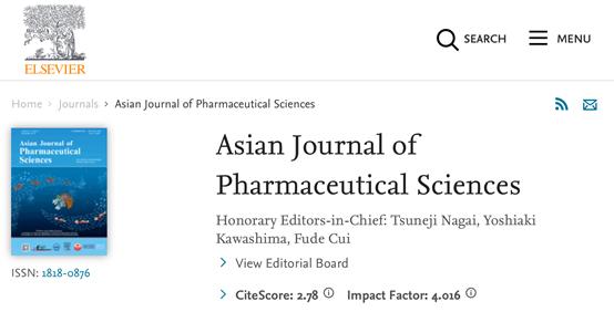 Asian Journal of Pharmaceutical Sciences影响因子4分的国产2区药学期刊