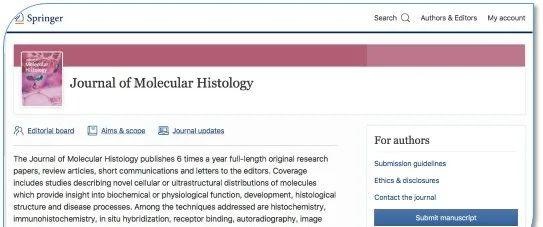 journal of molecular histology对投稿文章的图片格式要求