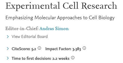 Experimental Cell Research 2020年影响因子3分 对国人友好、不收版面费的老牌期刊
