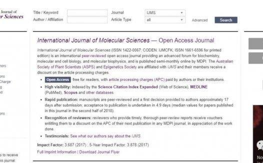 International Journal of Molecular Sciences一两个月就可接受,关键年发文4000多篇