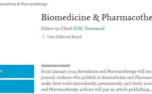 Biomedicine & Pharmacotherap年发文近2000篇,关键两三个月就可接受