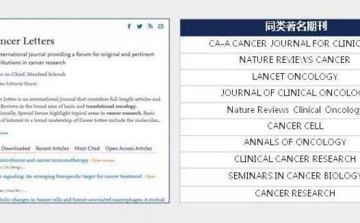 Cancer Letter 免审稿费、免版面费,一本6分的肿瘤学SCI期刊