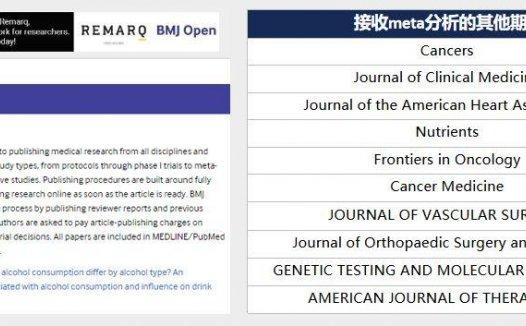 BMJ旗下的医学综合期刊BMJ Open接收Meta分析