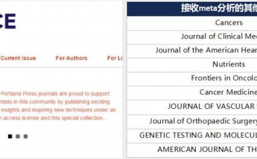 Bioscience Reports接收meta分析的分子生物学sci期刊