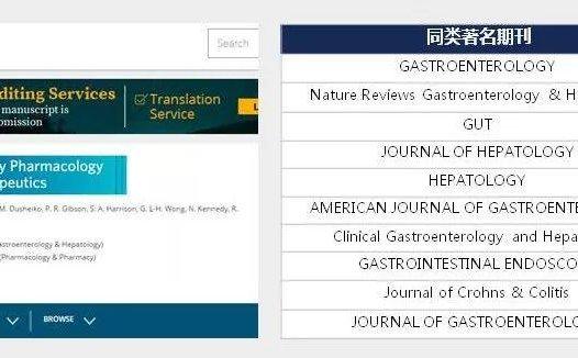 Alimentary Pharmacology & Therapeutics接收论著综述和Meta分析+不收版面费