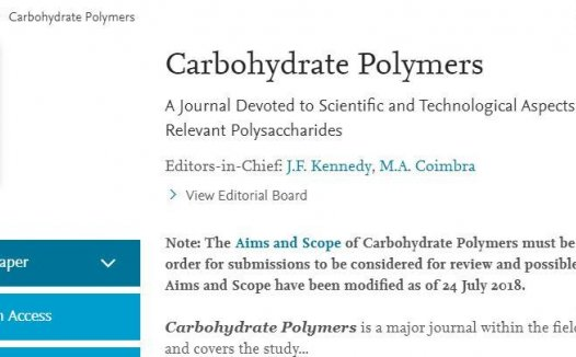 Carbohydrate Polymers (Carbohyd Polym) 即时影响因子为5.962分