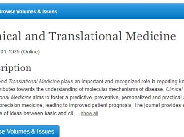 Clinical and translational medicine即时影响因子已超5分