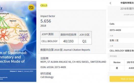 Cells影响因子5分 大扩刊且接收速度特快 慎投!