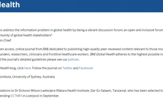 BMJ旗下BMJ Global Health入选SCI的期刊,影响因子3分