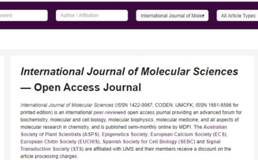 International Journal of Molecular Sciences即时影响因子3分