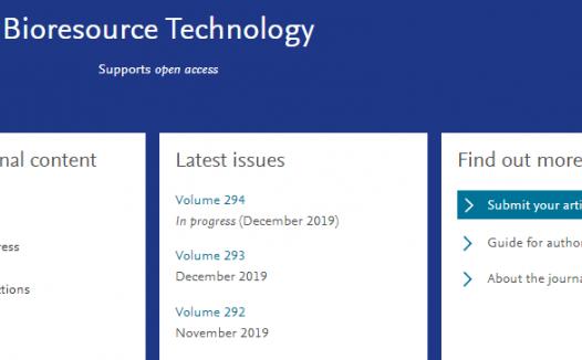 Bioresource Technology年发文1600篇 2020年影响因子预测9分