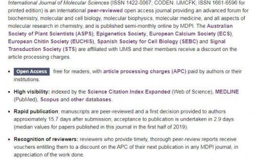 International Journal of Molecular Sciences影响因子4分 发文多审稿快