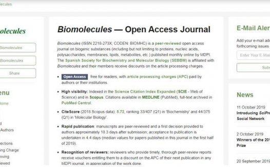 Biomolecules影响因子4分的1区杂志,审稿超快