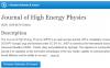 Journal of High Energy Physics 2020年影响因子超5分