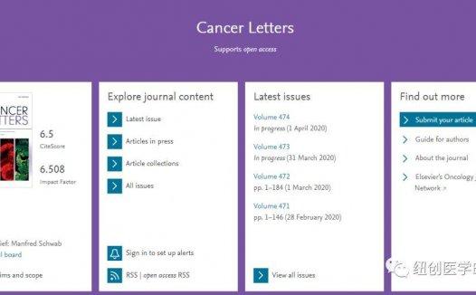 Cancer Letters影响因子6.5 中国发稿量大