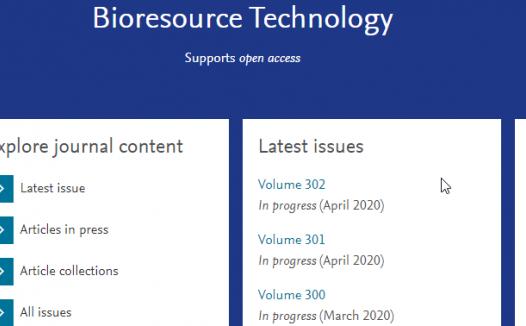 BIORESOURCE TECHNOLOGY预测2020年影响因子8分