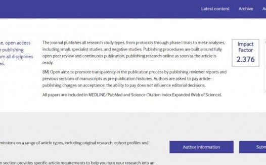 BMJ Open影响因子2.3分 内科3区的杂志
