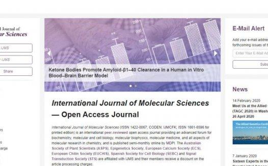 International Journal of Molecular Sciences即时影响因子4.6分