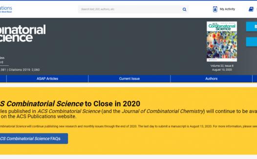 ACS Combinatorial Science杂志将于2020年底停刊