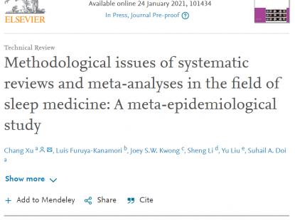 Sleep Med Rev: 睡眠医学领域干预类系统评价存在的方法学问题